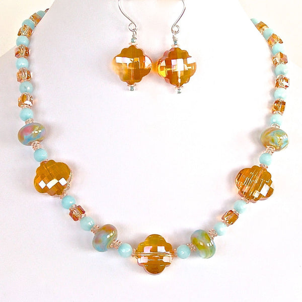 Handmade sky blue and apricot beaded necklace
