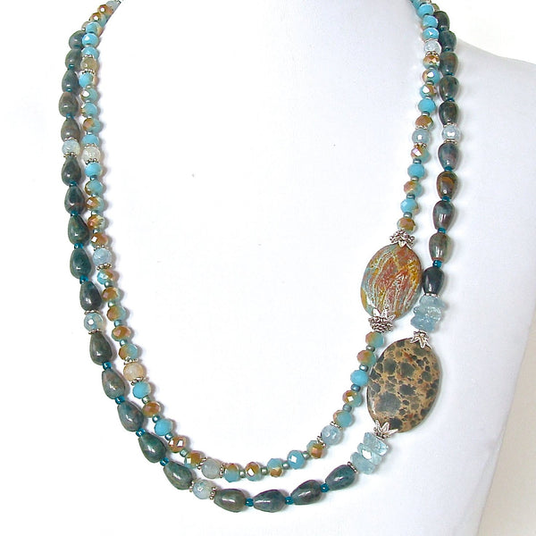 Handmade teal blue green jewelry
