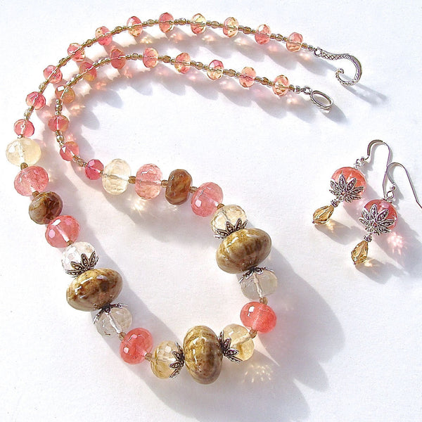 Handmade terracotta beaded necklace set