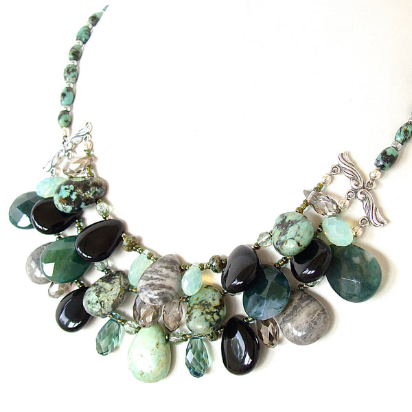 Handmade Green Bib Necklace