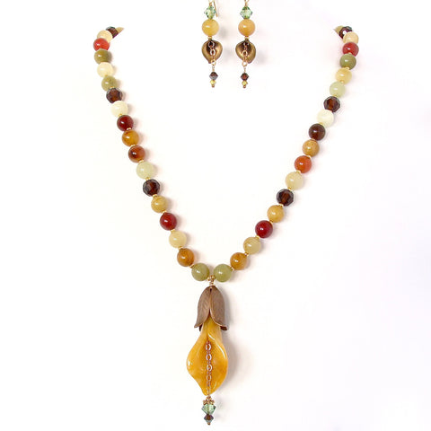 Handmade Pendant Necklace in Autumn Jewel Tones