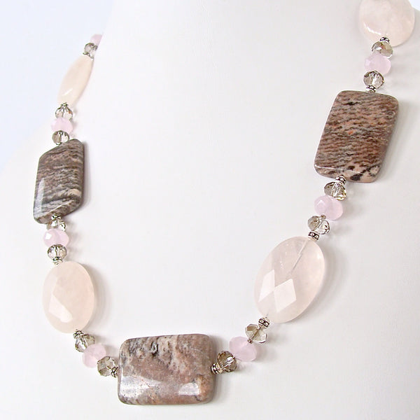 Pink and Gray Gemstone Necklace