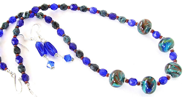 Handmade cobalt necklace