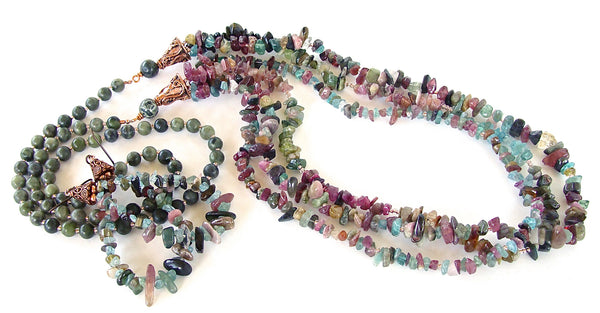 Handmade necklace in mixed tourmaline