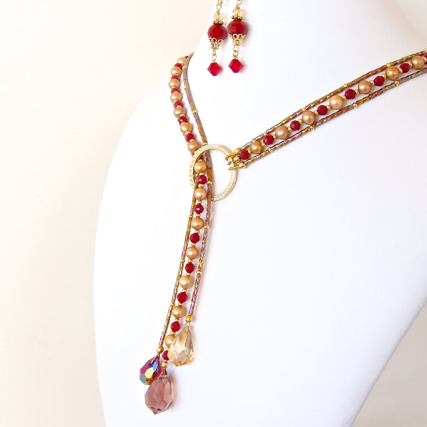 Handmade red lariat necklace