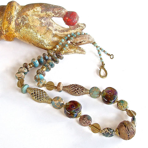 Handcrafted Jasper Boho Necklace