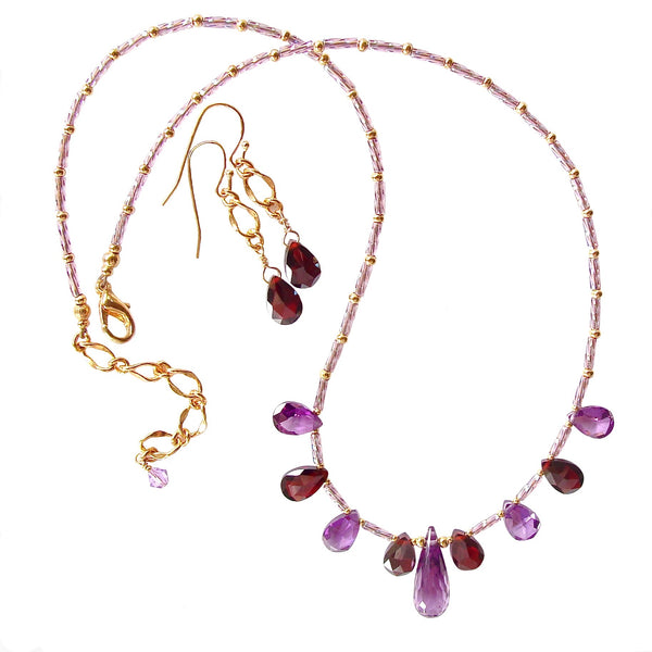 Jewel tone necklace with cubic zirconia pendant