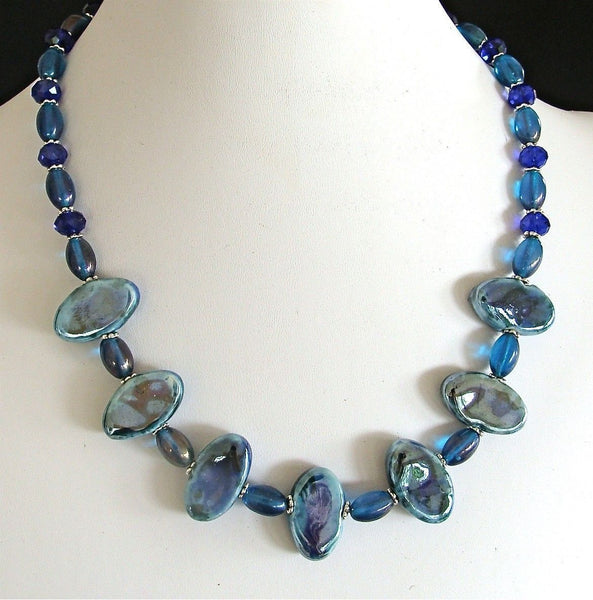 Kind of Blue: 18.5 inch Porcelain Bead Necklace