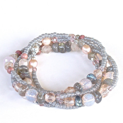 Labradorite Wrap Bracelet can also be worn as a necklace