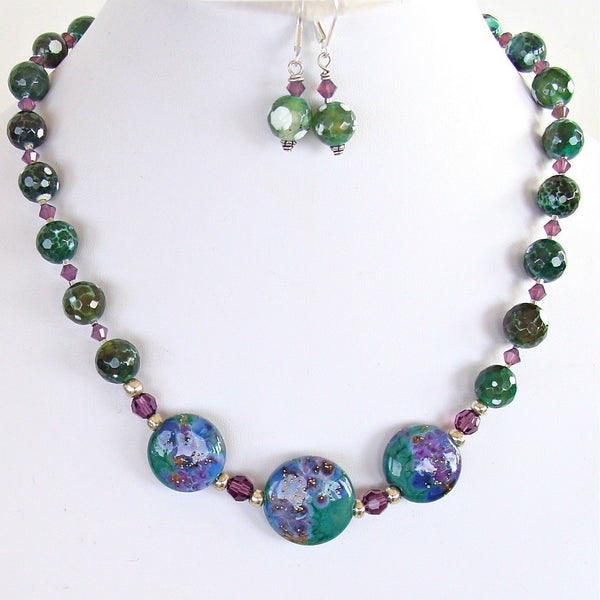 Lampwork Focal Beads and Crackle Agate Necklace