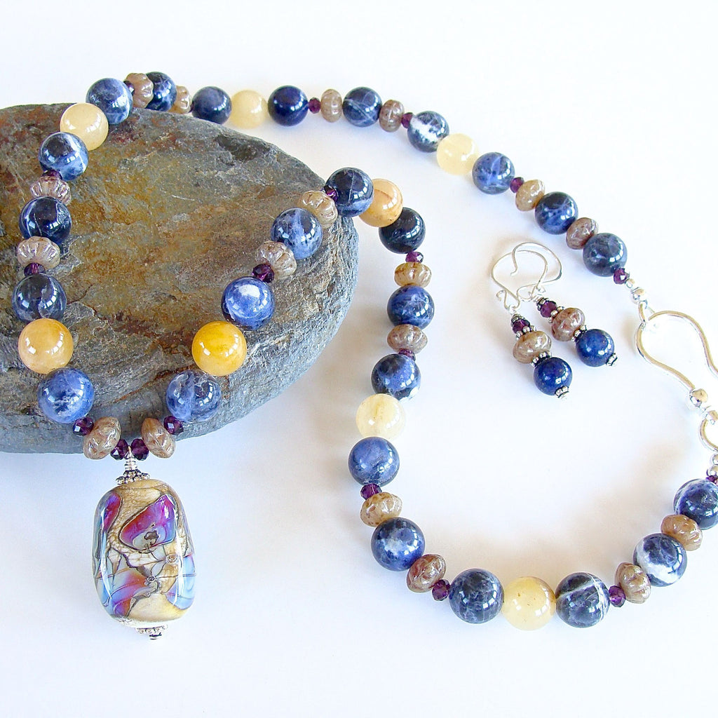 Lampwork Pendant with Sodalite Blue Stones