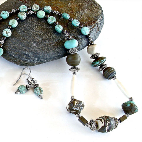 Lampwork and Hematite Necklace Set