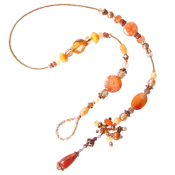 Lariat Necklace with Orange Gemstones