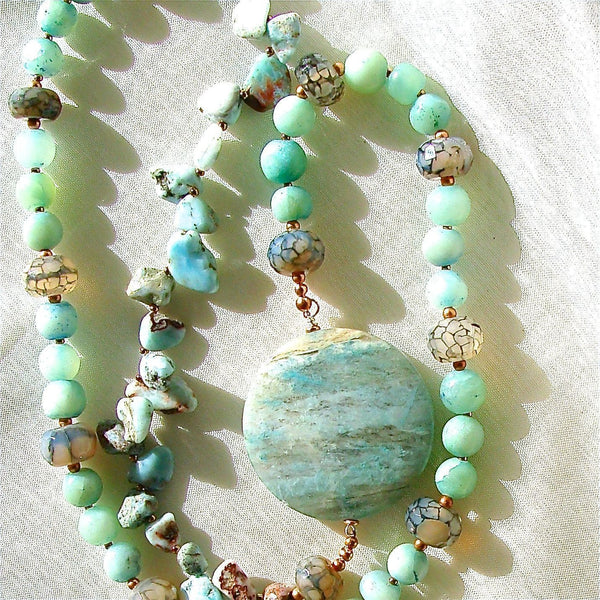 "Over Easy: 29"" Larimar Beads Necklace"