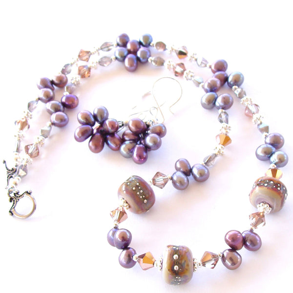 Lavender Pearl Necklace with Art Glass