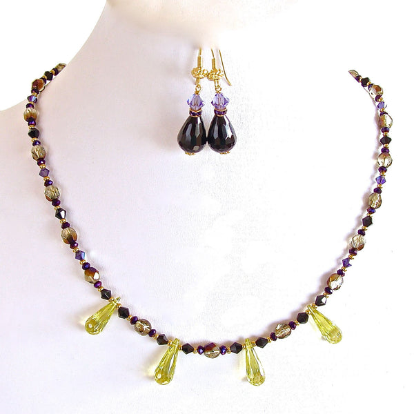 Lemon quartz, black and purple beaded necklace set