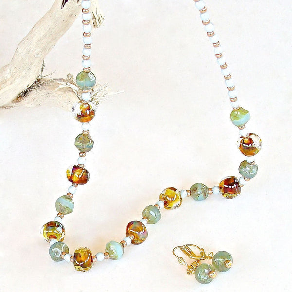 "Buttermilk: 19"" Glass Beaded Necklace"