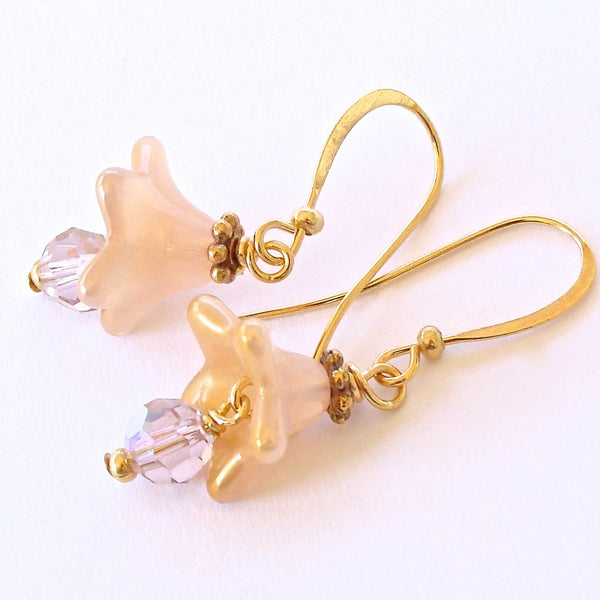 Light Pink and Gold Crystal Earrings