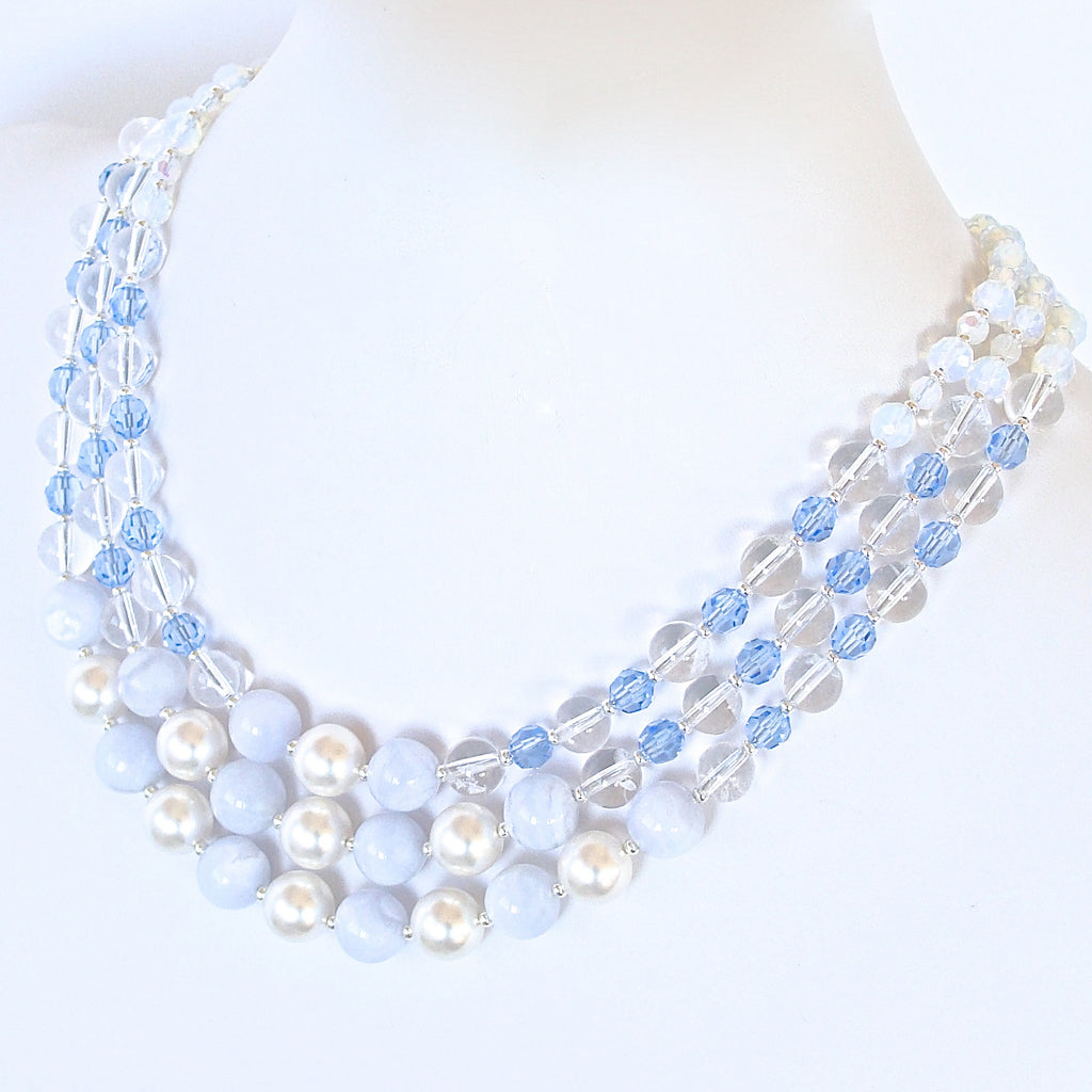 bright blue dual light layered products necklace and
