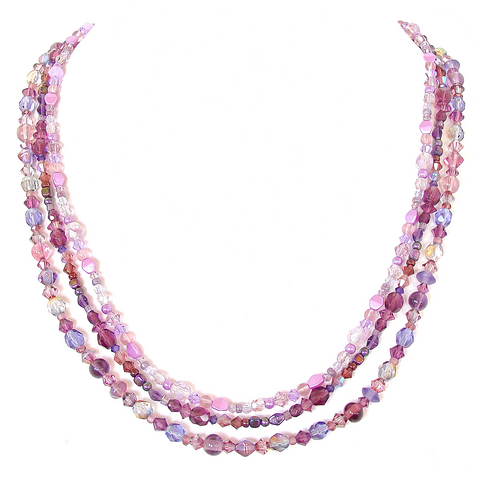 Long Purple Beaded Necklace