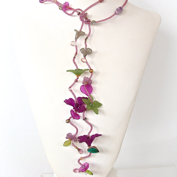 Long Beaded Flower Necklace