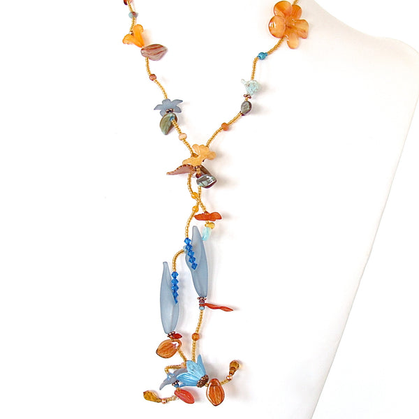 Long flower necklace with turquoise and carnelian