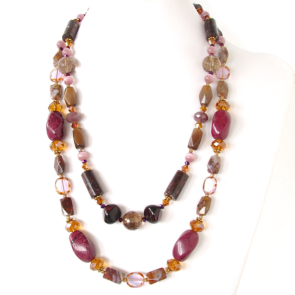 Long statement necklace in purple and yellow