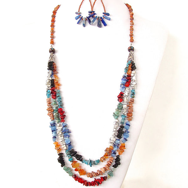 long coral and turquoise necklace