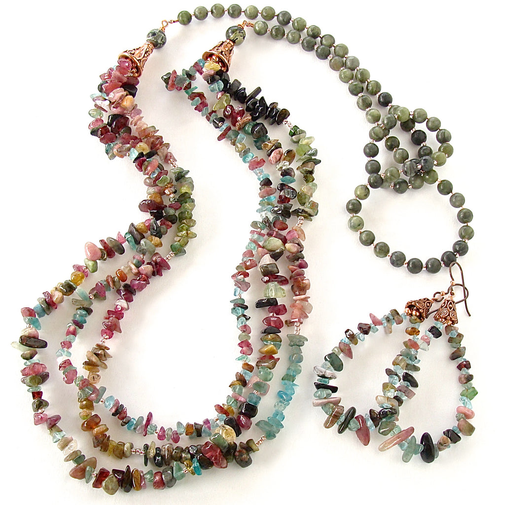Long gemstone necklace with Rainbow Tourmaline