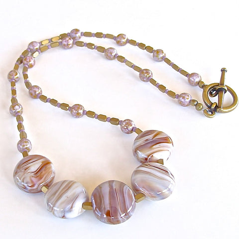 Mauve and Caramel Lampwork Beaded Necklace