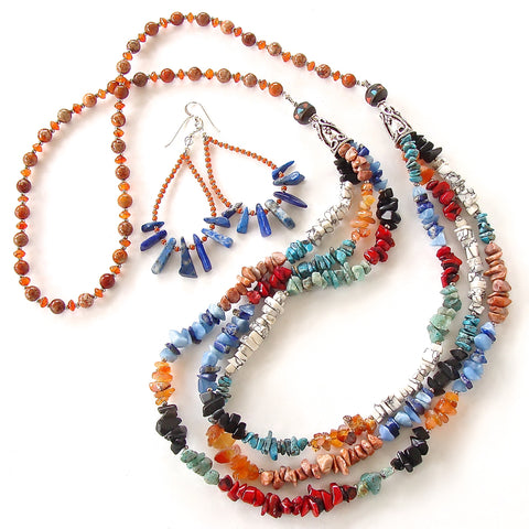 Mixed Gemstone Necklace in Southwest Style