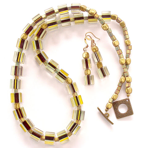 Mod Necklace of Striped Cane Glass