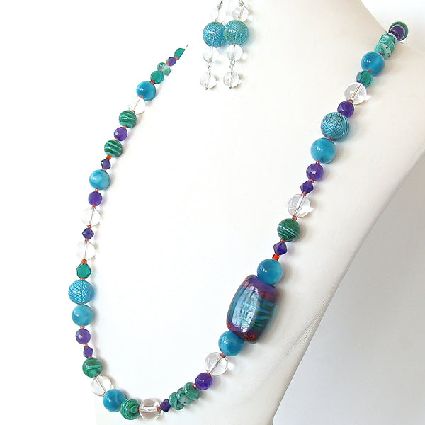 multi colored stone necklace