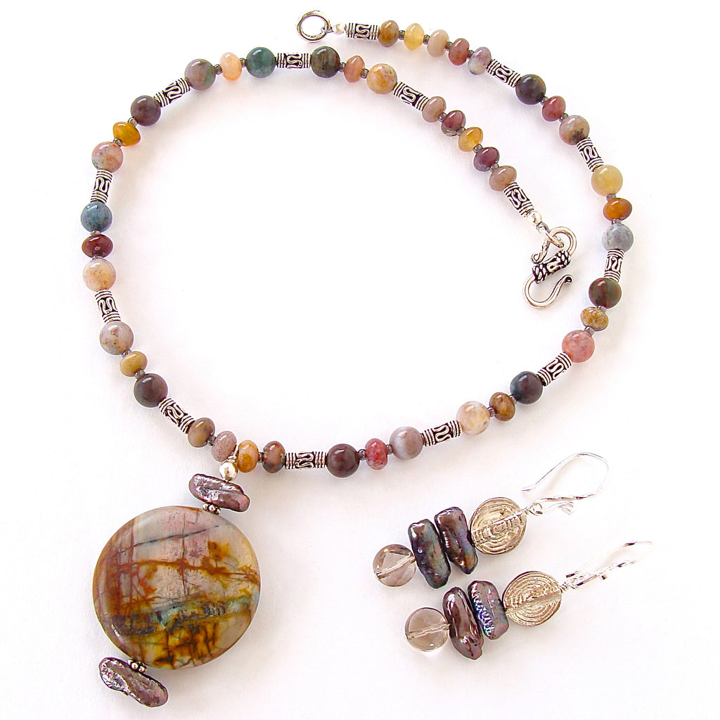 Natural Stone Jewelry : Paz natural stone jewelry with jasper pendant earth and