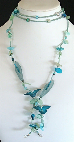 Nautical Lariat with Lucite Flowers Freshwater Pearls