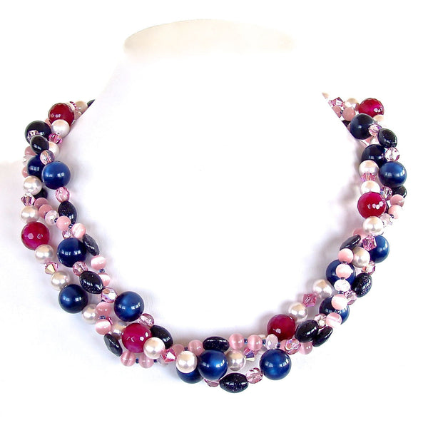 Navy and pink eclectic handmade necklace