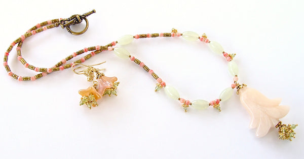 Eshal: Rose Quartz Pendant Necklace with Peridot