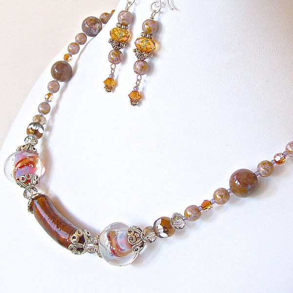 OOAK Art Glass and Semi-precious Stone Jewelry