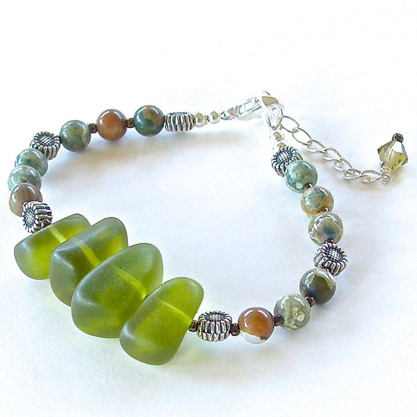Olive and Terracotta Beaded Bracelet