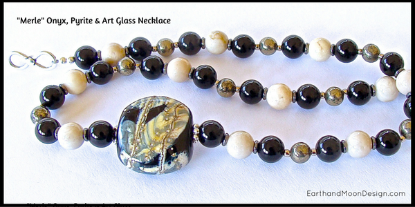 Onyx, Pyrite & Art Glass Black and White Beaded Necklace