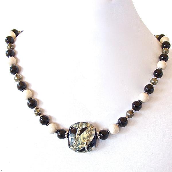 Onyx and Art Glass Necklace
