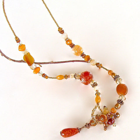 Orange Agate and Carnelian Lariat Necklace