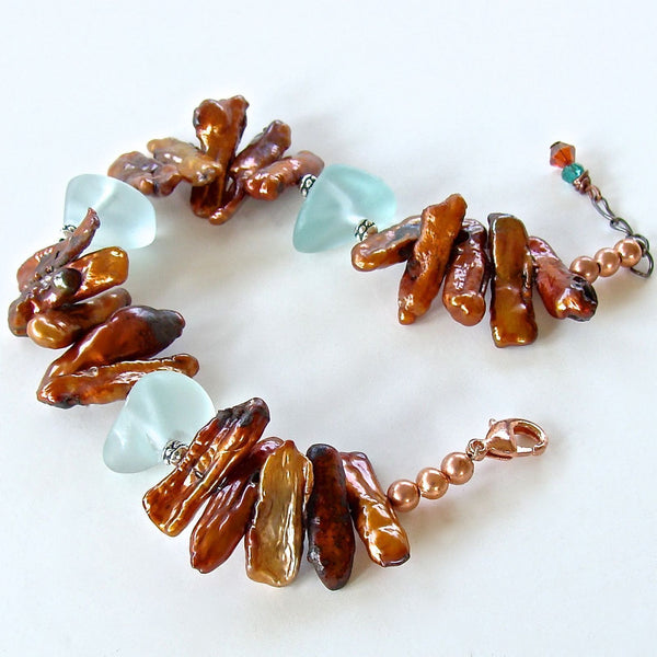 Orange and Aqua Handmade Beaded Bracelet