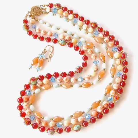 Orange Stone Necklace Set