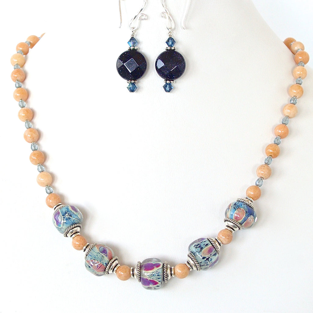 Ikat: Blue and Orange Necklace Set