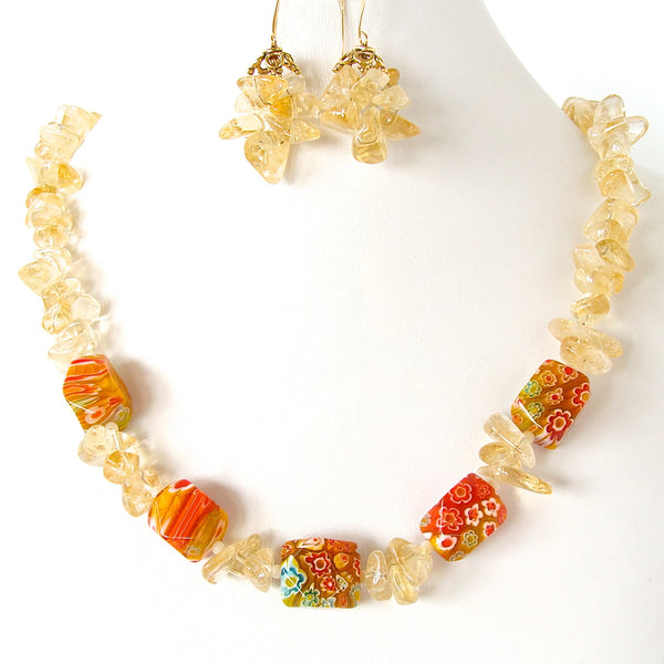 Orange and Yellow Necklace with Millefiori Glass