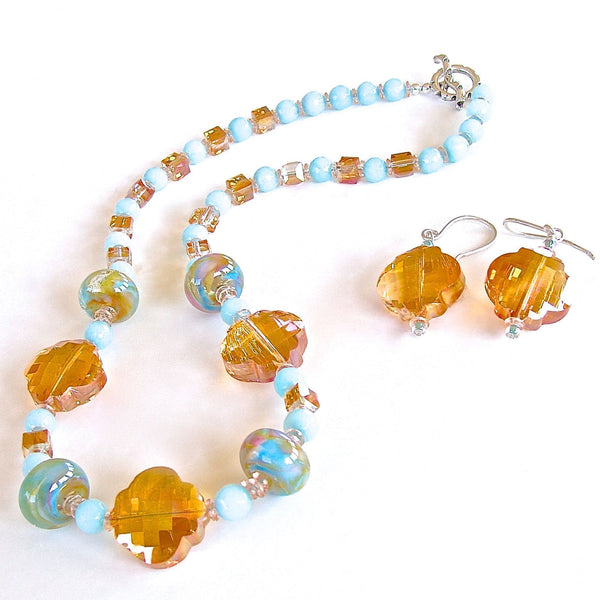 Pastel artisan glass and crystal necklace set