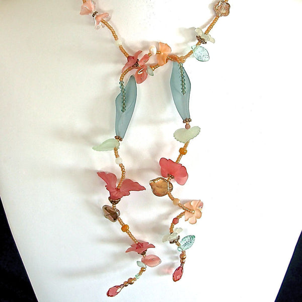 Peach and Teal flower necklace