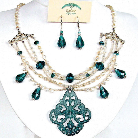 Pearl and Crystal Chandelier Necklace Set