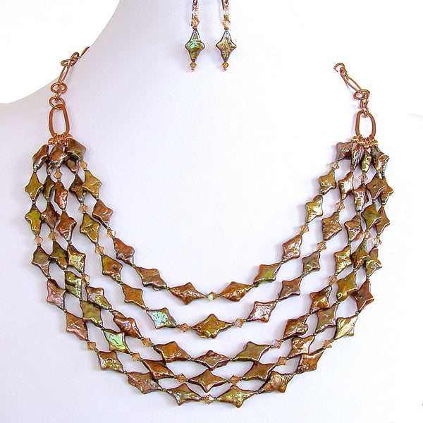 "Escher: 19"" Green Multi Strand Necklace Set"